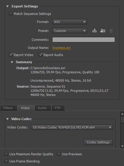 Premiere Export Settings (lossless)