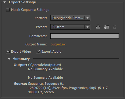 Premiere Export Settings (frameserver)